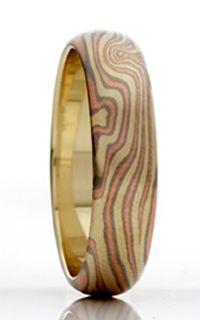 Mokume Half Round Wedding Ring - 6mm