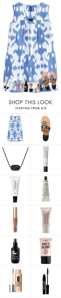 """rtd😂😂"" by nc-preppy-living ❤ liked on Polyvore featuring Jack Rogers, Kendra Scott, NARS Cosmetics, Context, Grown Alchemist, Too Faced Cosmetics, Laura Mercier, NYX, Clinique and Lord & Berry"