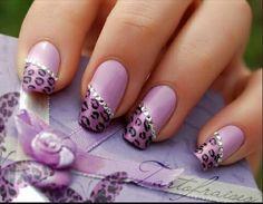 Purple leopard print nails