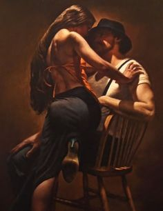 """Beaucoup D'amour"" - Hamish Blakely {contemporary figurative art sitting male and brunette female posterior back painting detail cropped} Romantic !!"