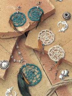 FreePatterns: Dream Catcher Jewelry by Clare Stringer. Free registration required.