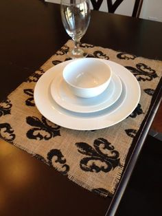 Fleur de lis Burlap Placemat Set on Etsy, $28.00