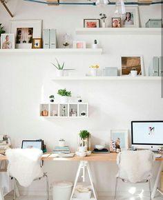 21 Ikea Desk Hacks For a Stylish Home Office - Hacksaholic Home Office Space, Home Office Design, Home Office Decor, Desk Space, Desk Office, Office Furniture, Workspace Design, Furniture Design, Pipe Furniture