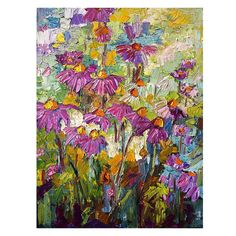 Purple Coneflowers Original Impressionist Oil by GinetteFineArt, $1200.00