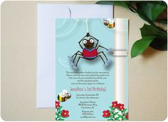 Itsy Bitsy Spider birthday party invitation from Urbanity Studios