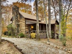 A hand hewn log cabin originally