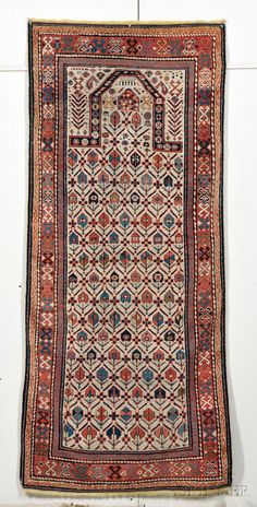 Akstafa Prayer Rug East Caucasus Last Quarter Century Outer Guard Stripe Rewoven On Both Ends 6 Ft X 2