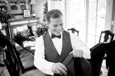 groom getting ready black & white wedding photography