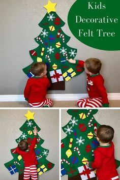 Love this Kids Decorative Felt Tree. Perfect way to give the kids something that is just for them to decorate and redecorate as they please. Christmas Activities For Kids, Christmas Games, Family Christmas, All Things Christmas, Christmas Crafts, Christmas Decorations, Xmas, Do It Yourself Inspiration, Holiday Crafts