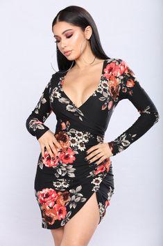 Steala Rose Dress - Black Floral