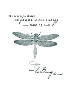 Printable Artwork- Dragonfly illustration- typography art print- The secret to change inspirational quote- teal and aqua pattern art #kikiverde #Etsy #handmade