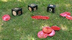 Diy left, right, center game for outside. I love this idea!