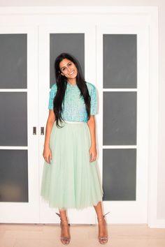 Inside Deputy Fashion Editor Anahita Moussavian's Closet: Blue Sequin Top, Topshop; Green Tulle Skirt, Dolce & Gabbana; Silver High Heel Shoes, Sophia Webster | coveteur.com