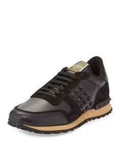 Rockrunner Leather and Suede Sneaker, Black by Valentino at Neiman Marcus.