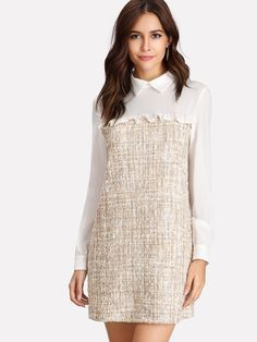 Shop Frilled Detail Mixed Media Dress online. SheIn offers Frilled Detail Mixed Media Dress & more to fit your fashionable needs.