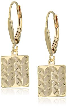 18k Yellow Gold Plated Sterling Silver Diamond Cut Square Lever Back Earrings *** More info could be found at the image url.