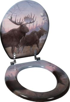 Moose Scene Toilet Seat - Click Image to Close