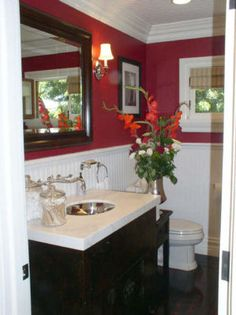 red Bathroom Decor Hoping to do this in the powder room.Red with white wainscoting Red Bathroom Decor, Bathroom Colors, Bathroom Ideas, Bath Ideas, Design Bathroom, Bathroom Remodeling, Bathroom Furniture, Red Rooms, White Rooms