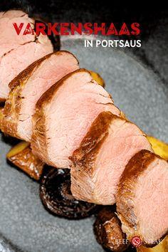Malse varkenshaas met een lekker pittig sausje #varkenshaas #recept #portsaus #varken #beefensteak #slager #bbq Salsa, Dips, Steak, Bbq, Pork, Barbecue, Pork Roulade, Barbacoa, Salsa Music