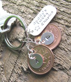 Cute father's day idea, penny keychain