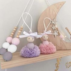 Kids Cute Nordic Shelving - Kate and Moon Wood Peg Dolls, Clothespin Dolls, Cute Room Decor, Nursery Room Decor, Pom Pom Crafts, Hippie Home Decor, New Crafts, Nordic Style, Diy For Kids