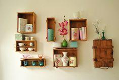 Utiliza huacales para organizar y decorar tu casa con un - Decorar casa estilo vintage ...