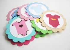 A set of cute Baby Onesie favor tags for birthday or baby shower party. You can even use them as embellishment to dress up your DIY projects.  You will receive 12 Baby Onesie gift tags.