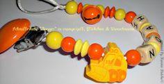 """Chaîne sucette """" pelle """" avec nom en orange de baby name for u sur DaWanda.com"""