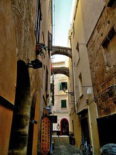 Alghero - walking through the streets of old town - Sardinia