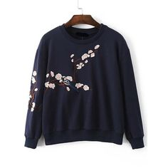 SheIn(sheinside) Plum Blossom Embroidered Drop Shoulder Sweatshirt (1,370 INR) ❤ liked on Polyvore featuring tops, hoodies, sweatshirts, navy, blue pullover, flower sweatshirt, navy sweatshirt, navy blue sweatshirt and navy blue pullover