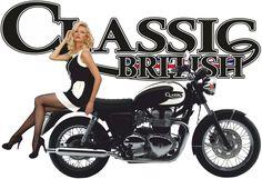 T shirt logo BRITISH CLASSIC MOTORCYCLE PIN UP GIRL T SHIRT BIKE BIKER STOCKINGS VINTAGE TOPS