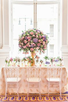 Beautiful pink and purple floral center piece. Flowers by Amie Bone Flowers. Luxury Wedding Inspiration From The Corinthia Hotel in London- ROCK MY WEDDING Floral Centerpieces, Luxury Wedding, Wedding Blog, Wedding Flowers, Wedding Planning, Wedding Inspiration, Table Decorations, Bride, London