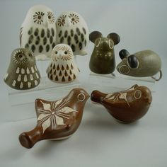 Strawberry Hill Pottery-owls, birds, and mice
