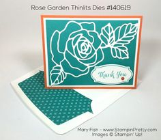 Rose Garden Thinlits Dies & Rose Wonder Photopolymer stamp set combine for a simple thank you card - Designed by Mary Fish, Independent Stampin' Up! Demonstrator. Details, supply list and more card ideas on http://stampinpretty.com/2015/12/pals-holiday-blog-hop-3.html