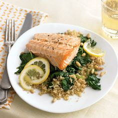 Baked Salmon with Spinach and Couscous