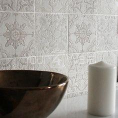 'Marokkanische Kachel' Geometrisch Fliesen-effekt Tapete grau, Beige, creme weiß
