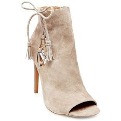 Steve Madden Fabrice Suede Peep Toe Booties ($130) ❤ liked on Polyvore featuring shoes, boots, ankle booties, taupe, peep toe bootie, lace up ankle boots, open toe booties, peep-toe booties and peep toe booties