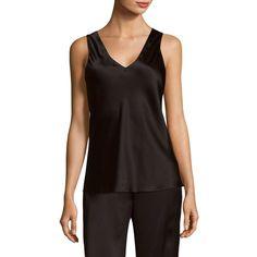 Josie Natori Basic Silk Tank Top ($175) ❤ liked on Polyvore featuring tops, v neck sleeveless top, sleeveless v neck tank tops, silk top, josie natori and v-neck tank