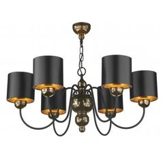 Classic quality made British light fittings from David Hunt Lighting. The Garbo range is much admired and used by interior designers and the 6 light chandelier shown here is in the bronze finish which has an attractive mosaic pattern. Supplied complete with the dramatic black/bronze shades illustrated.