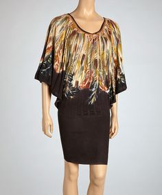 Loving this Yellow & Brown Nagoya Feather Cape-Sleeve Dress on #zulily! #zulilyfinds, $45 !!