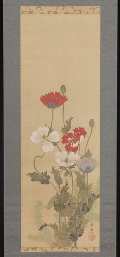 Suzuki Kiitsu (Japanese, 1796–1858). Poppies, mid-19th century. The Metropolitan Museum of Art, New York. Fishbein-Bender Collection, Gift of T. Richard Fishbein and Estelle P. Bender, 2012 (2012.522.3) | Emerging from clusters of deep-green ridged leaves, the elongated vertical stems topped by bursts of white and red remind viewers of a stroll in a garden on a summer's day.