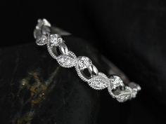 Daphine Platinum Thin Weaving Leaves Diamonds by RosadosBox