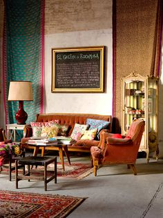 Gorgeous studio in Buenos Aires with vintage decor and colorful found objects arrangement