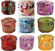 """Patchwork Round Ottoman Pouf Cover 18"""" Indian Vintage Pouffe Footstool Cover Bean Bag Round Sitting Pouf Floor Pillows Floor Cushion Cover Pouf Ottoman, Ottoman Decor, Ottoman Cover, Cushion Covers, Ottoman Furniture, Floor Pouf, Floor Cushions, Turquoise Cushions, Scrappy Quilts"""