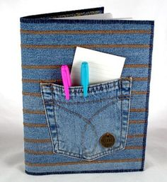 Denim Notebook:  made of recycled jeans.