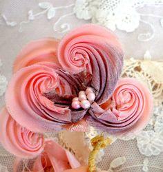 antique ribbonwork 1920's millinery pink flower. via Etsy.