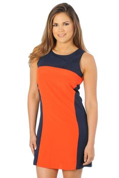 Dress up your spirit for Illinois Fighting Illini! Wow the crowd in this chic and Orange and Navy Colorblock Tank Dress! It's the perfect wardrobe essential to transition from day to night! - University Girls Apparel