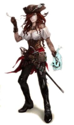 Sandara Quinn - has recently taken up piracy, when she was press-ganged and forced to join the Wormwood crew. Should be a quick friend of the PCs