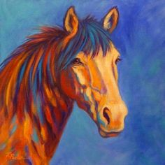 Sienna, Colorful Original Horse Painting by Theresa Paden, SOLD, painting by artist Theresa Paden