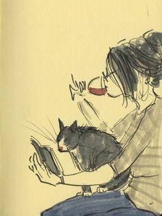 Books, Wine & a cat